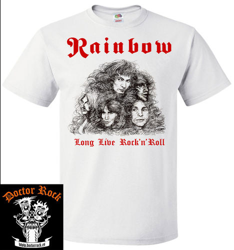 Camiseta Rainbow Long Live Rock`n`Roll Blanca